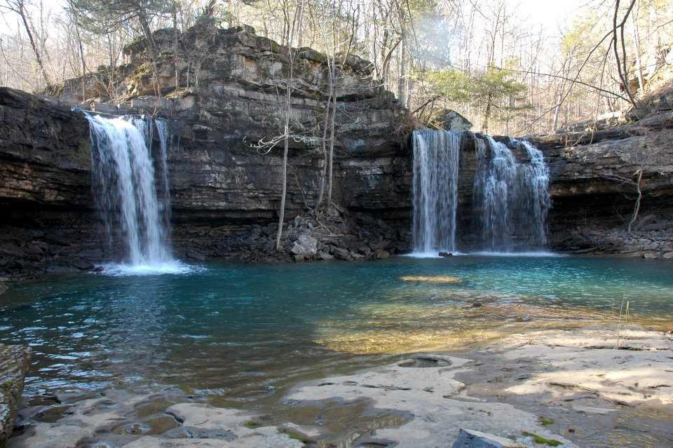 Fuzzy Butt Falls – a great short waterfall hike in Arkansas' Richland Creek Wilderness Area for exploring after heavy spring rains.