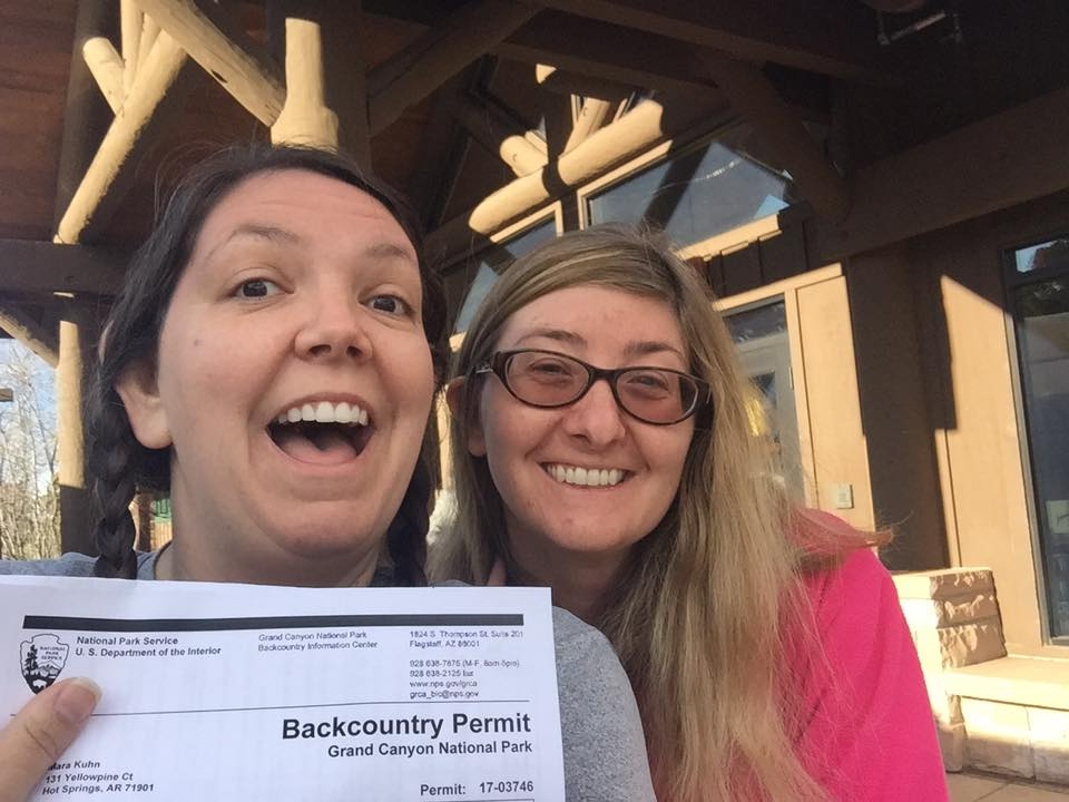 My friend Lagena and I super excited we scored backcountry permits at the Grand Canyon