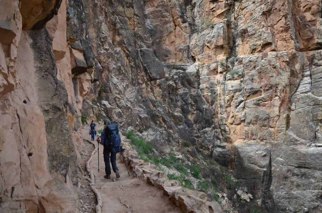 Hking down into the Grand Canyon the trail can be very narrow. It's a good time to practice Leave No Trace Principle 7
