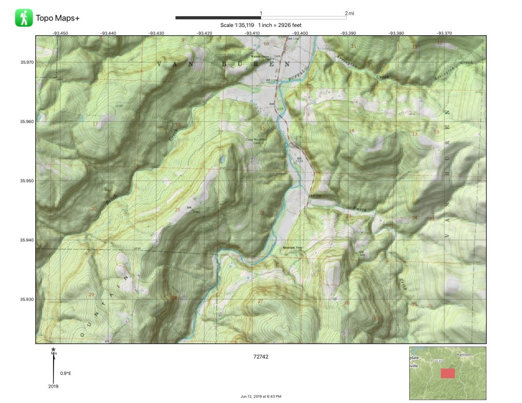 A topographical map of an erroded plateau