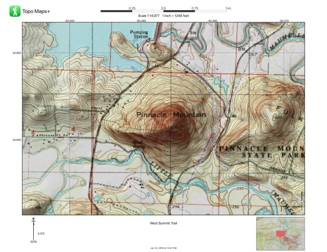 A topographical map of Pinnacle Mountain is shown