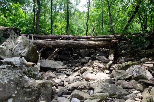 The dry creek bed of Falling Water Creek is shown