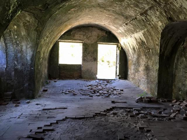 A tunnel at Fort Pickens is shown at Gulf Islands National Seashore