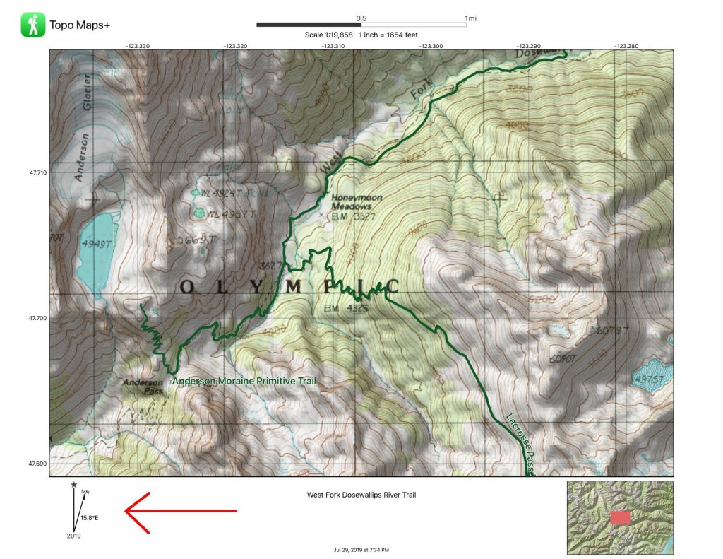 A map is shown as a sample of declination