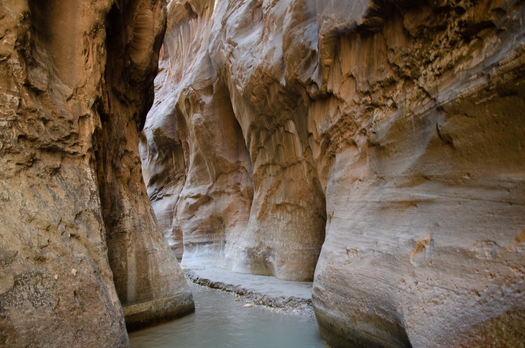 A slot canyon is shown in The Narrows