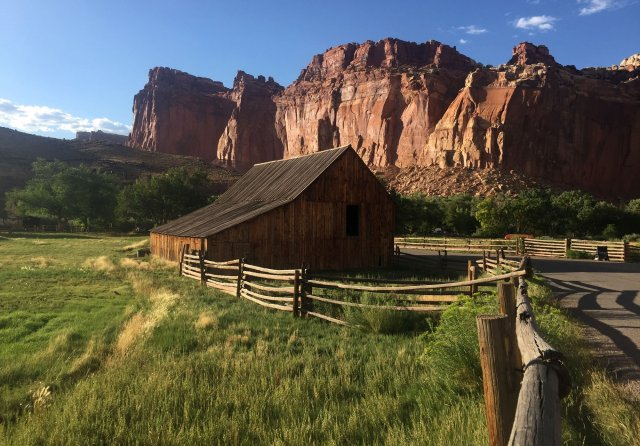 A barn at Capitol Reef National Park is shown