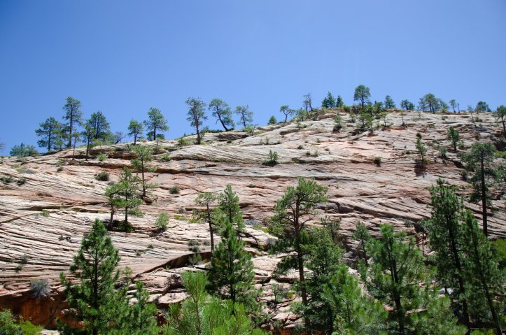 Hiking in the desert can be hot while hiking along baren rocks