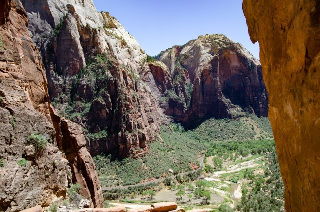 The Virgin River is shown on the descent from Angel's Landing