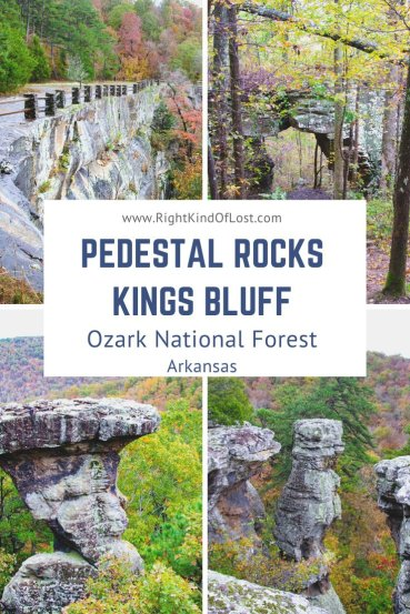 The Pedestal Rocks Kings Bluff loop is a figure-eight loop made up of two trails. It showcases the unique rock formations of the Ozark National Forest.