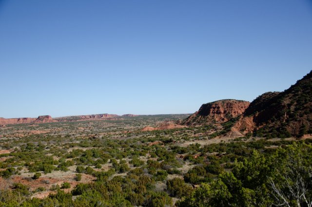 The view is shown climbing the escarpment at Caprock Canyons State Park