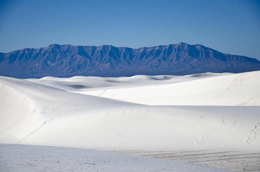 White Sands and the mountains are shown