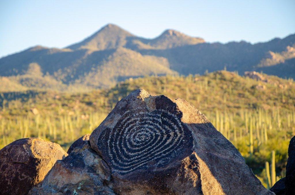 Petroglyphs are shown at Saguaro National Park