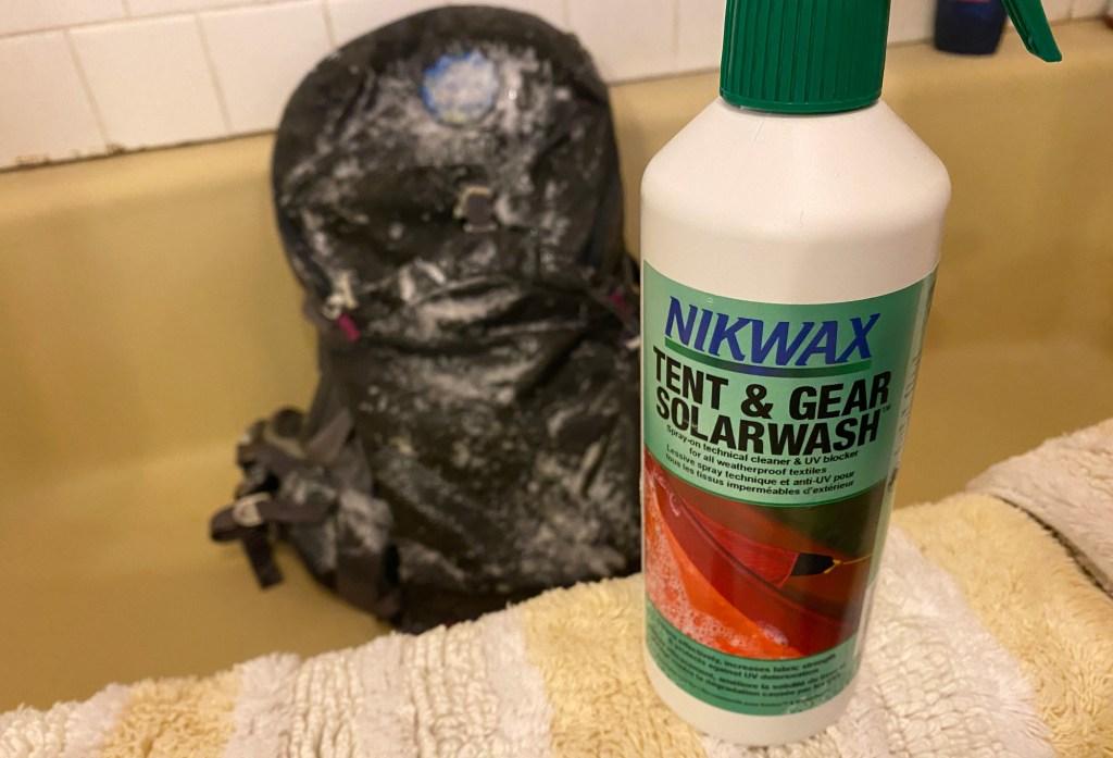 Nikwax gear wash is shown