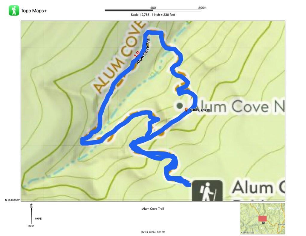 Alum Cove Trail map
