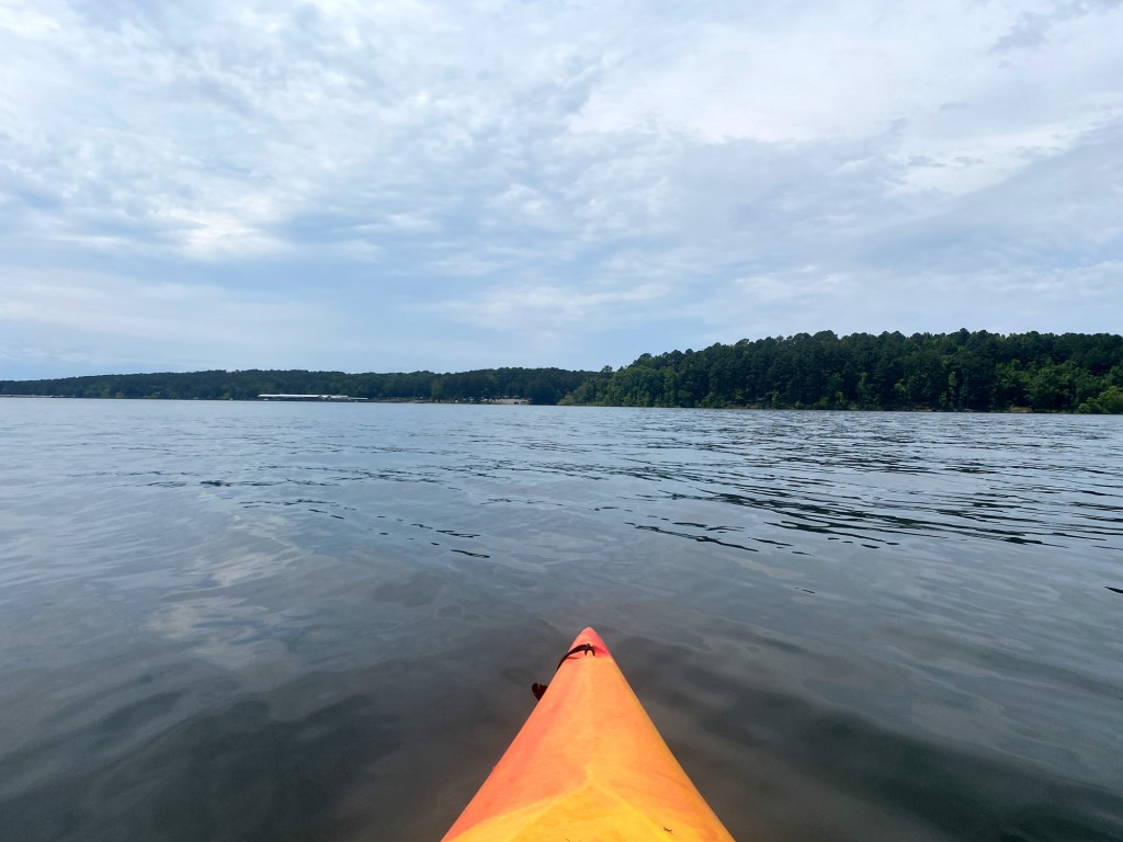 The view of the return to the boat launch is shown on the Islets Cove Paddle Trail