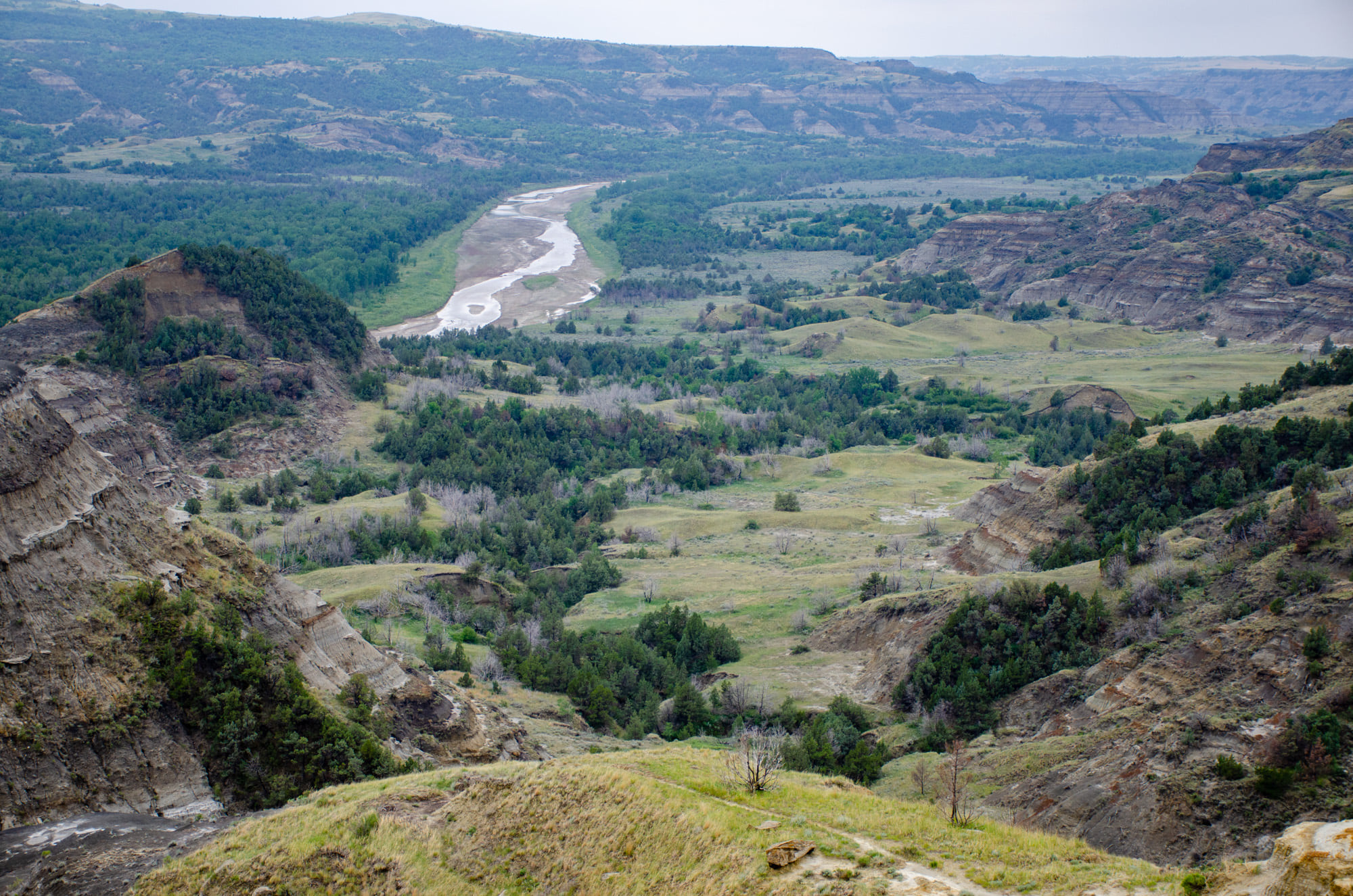 The river is shown at Theodore Roosevelt National Park