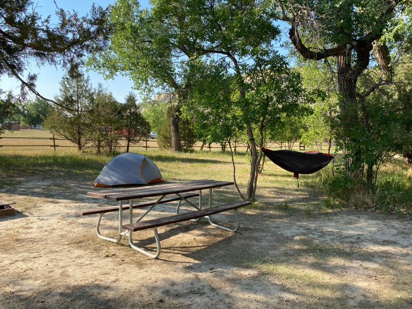 A campground near Theodore Roosevelt National Park is shown