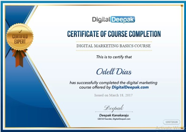 Digital Marketing Certificate_Odell DIas
