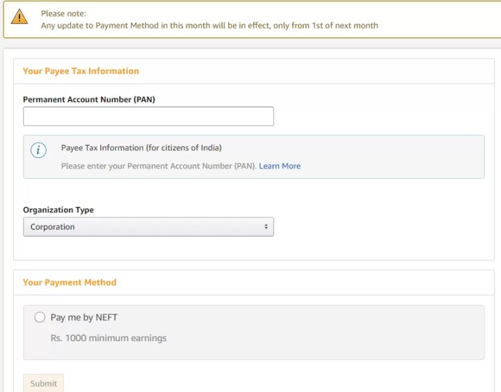 Amazon Affiliate Payment Tax Details