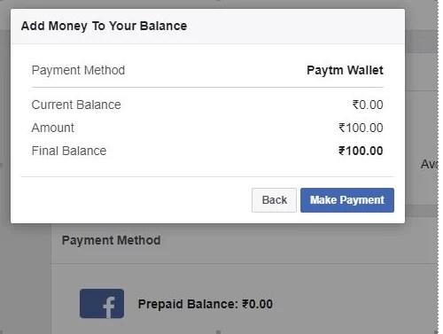 Facebook Payment