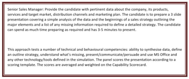 Figure 1: Example of a Technical and Behavioural Competency Assessment Scenario provided to shortlisted candidates after Interview 1 for Interview 2.