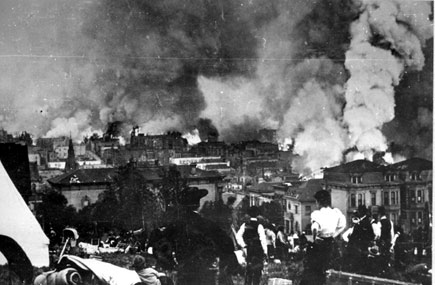 1906 earthquake and fire, view from golden gate park