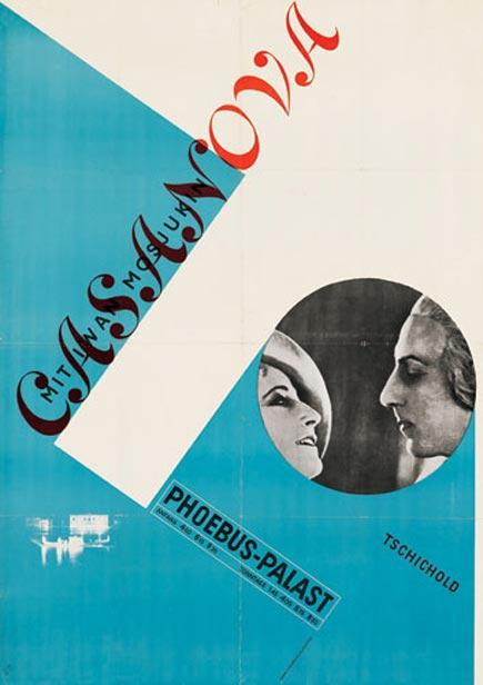 jan tschichold's poster design for Alexandre Volkoff's 1927 film casanova
