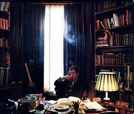 keith richards in his library