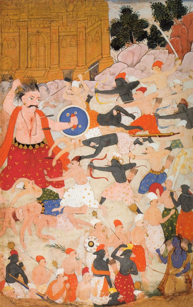 The demon giant Kumbhakama battles Rama's armies of monkeys and bears, ca. 1605. India; possibly Madhya Pradesh state, former kingdom of Datia. Opaque watercolors and gold on paper. Asian Art Museum, gift of the Connoisseurs' Council with additional funding from Fred M. and Nancy Livingston Levin, the Shenson Foundation, in memory of A. Jess Shenson, 2003. 3.
