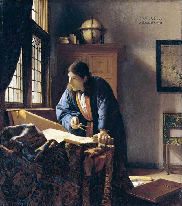 The Geographer, 1669, by Johannes Vermeer (Dutch, 1632–1675). Oil on canvas. Städel Museum, Frankfurt. A young geographer is surrounded by the spoils of the incipient colonialism of the newly global world. The globe on his cabinet shows the Indian Ocean, where the Dutch East India Company was intervening to take control of the Indonesian spice trade. The Indian Ocean was also the route through which the Dutch reached East Asia, and the geographer wears a Japanese silk robe. His work rests on an Ottoman carpet.