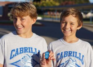 The Cabrillo Middle School emblem we plan to pictures of in exotic locations and share with the school.