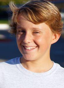 Bryce Rigney outside Cabrillo Middle School