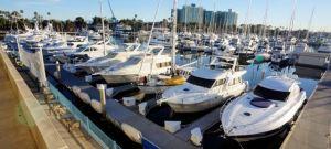"Kandu in all her cruising glory within Del Rey Yacht Club's ""Battleship Row"""
