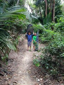 "Trekking through jungle to ""Burro's Beach"" northern Banderas Bay, Mexico."