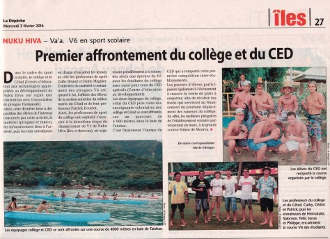 French Polynesia's newspaper published a photo with Bryce. He occupies the first seat in the closest outrigger canoe during a practice race.