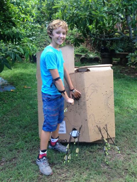 Trent Rigney all smiles after hitting his cardboard chicken targets.