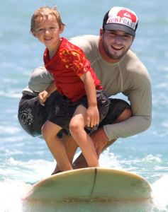 Trent's first experience surfing - Waikiki age 4.