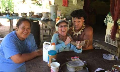 Friends Pua and Taeki showed Rosie Marquesan amity when we visited the Hakaui waterfall.