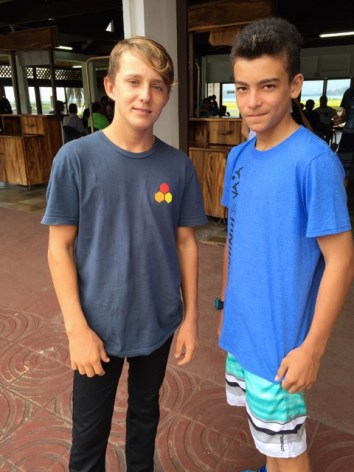 Bryce and Hauari'i at Raiatea Airport after returning back from the race the same day.