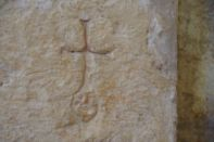 ...eine Gravur Kreuz mit Adams-Gesicht - der Gottesdienst war wohl etwas langwierig?