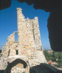 Blick auf die Reste des Burgfrieds