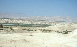 """Die """"Mondlandschaft"""" in der Nähe der Prince-Mohammed-Brücke im Jordantal"""