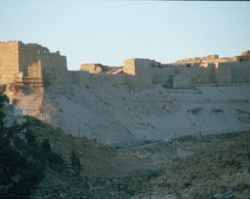 Die Reste der ehemaligen mächtigen Burg Kerak