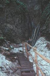 Der waghalsige Steg in die Eishöhle mit der Kältegrenze