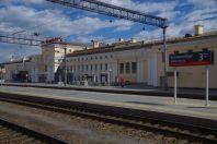 Der Transsib-Bahnhof von den Bahnsteigen aus gesehen.