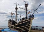 Die Victoria, der Nao-Nachbau eines Magellan-Expeditionsschiffes von 1519.