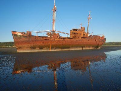 MS Desdemona, 1952 in Hamburg gebaut, 77 m lang, 2122 BRT, ...