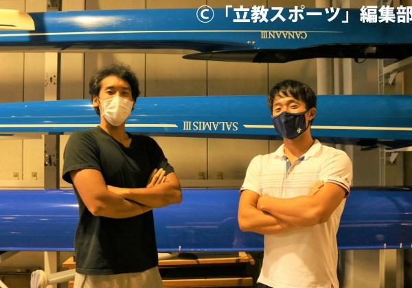 腕組みポーズを決める山口(左)と若濵。若濵のマスクはOBOGからの差し入れだという
