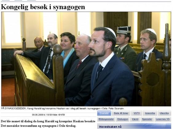 Kongelig besøk i synagogen