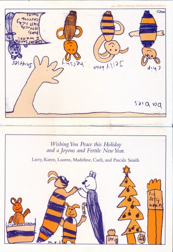 """A Guinea Pig Christmas"" 1997; drawing by Madeline"